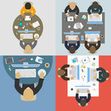 Groups of business people working for office desk. New idea of company, financial strategy, development of new projects royalty free illustration