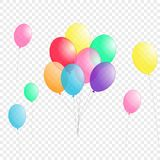 Groups of colorful helium balloons isolated on transparent background vector illustration