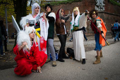 Groups of costumed players Royalty Free Stock Photo