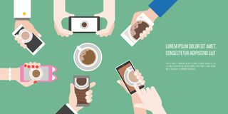 Groups of hands holding smart phone take photo of coffee cup in aerial view. Flat design vector of human behavior like to photograph food before eating stock illustration