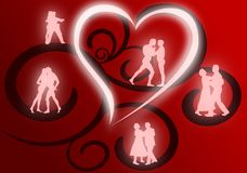 Groups of Lovers Dancing. Several couples dancing as glowing silhouettes against a red and black flourish background royalty free illustration