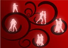 Groups of Lovers Dancing. Several couples dancing as glowing silhouettes against a red and black flourish background Royalty Free Stock Image