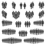 Groups of men and women icons. Compositions of groups of men and women classic vector icon signs stock illustration