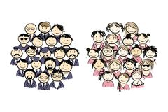 Groups of men and women for your design Stock Images