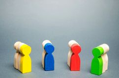 Groups of multicolored wooden people. The concept of market segmentation. Customer relationship management. Target audience, stock photo