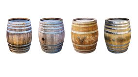 Groups old wooden barrel for champagne, wine, whiskey, rum, beer, with steel ring. On white background stock photography