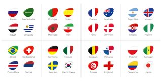 Groups of participating countries to the soccer tournament. In russia illustration Royalty Free Stock Images
