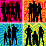 Groups of people. Silhouettes of groups of people on abstract backgrounds Royalty Free Stock Photo