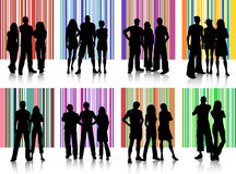 Groups of people. Silhouettes of various groups of people on retro backgrounds Royalty Free Stock Photo