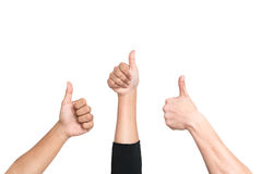 Groups of people gave the thumbs up gesture of approval success Stock Photos