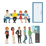 Groups of people standing and sitting in queues near ATM and cabinet door. Cartoon characters of young men and women. Groups of people standing and sitting in Stock Photo