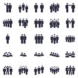 Groups of persons icon. Business team person, office teamwork people symbol and work group isolated silhouette icons royalty free illustration