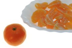 Groups of segments of a tangerine Stock Photography