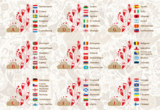 9 groups tables of results, vector template. Football world championship 2018, European qualifiers matches, 9 groups tables of results, vector template royalty free illustration
