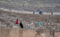 Groups of Tourists Visiting Grand Theatre of Ephesus in Summer Stock Photo