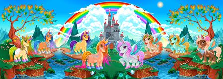 Groups of unicorns and pegasus in a fantasy landscape stock photography