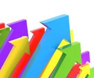 Groups of upward arrows, 3d render. Groups of colourful upward arrows, 3d render Royalty Free Stock Image