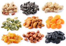 Groups of various kinds of dried fruits Royalty Free Stock Photos