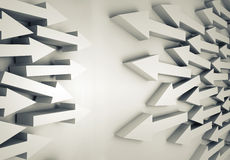 Groups of white arrows going towards each other. Abstract 3d illustration with groups of white arrows going towards each other Royalty Free Stock Photo