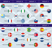 Groups of the World Cup 2010. A chart of the groups of the South Africa World Cup 2010 with the all 32 countries stock illustration