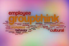 Groupthink-Wortwolke mit abstraktem Hintergrund Stockbilder