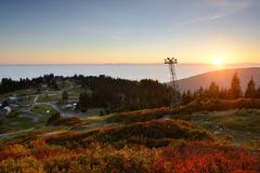 Grouse Mountain Autumn Sunset Stock Image