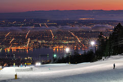 Grouse Mountain Night Ski Runs Royalty Free Stock Photos