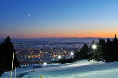 Grouse Mountain Night Ski Runs Royalty Free Stock Images