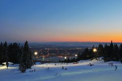 Grouse Mountain Night skiing stock images
