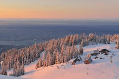 Grouse Mountain Ski Resort at sunrise Stock Photo
