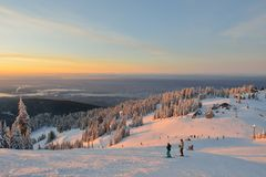 Grouse Mountain Ski Resort at sunrise Royalty Free Stock Image