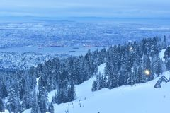 Grouse Mountain Winter sunrise Stock Images