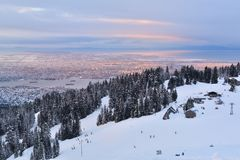 Grouse Mountain Winter sunrise Royalty Free Stock Images