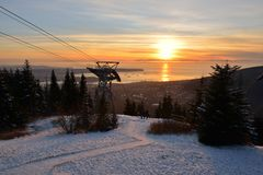 Grouse Mountain Winter Sunset Royalty Free Stock Photography