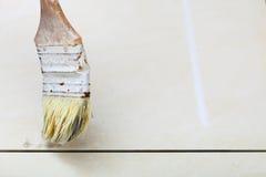 Grout da primeira demão da escova da renovação em casa das telhas resistentes Foto de Stock