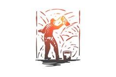Grouting cement, arbetare, vägg, reparationsbegrepp Hand dragen isolerad vektor royaltyfri illustrationer
