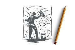 Grouting cement, arbetare, vägg, reparationsbegrepp Hand dragen isolerad vektor stock illustrationer