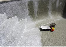 Regrouting in progress on a leaky swimming pool. Royalty Free Stock Photo