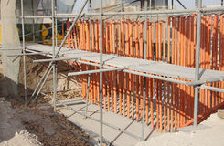 Grouting underneath ground for casting of column. In situ casting of the base of concrete column Stock Photo