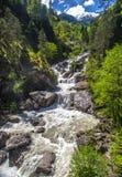 Grov bergflod med vitt skum Arkivfoton