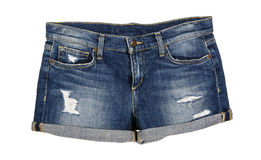 Grov bomullstvill Jean Shorts Front Royaltyfria Foton