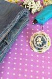Grov bomullstvillblommabrosch, jeans, varmt lim, band - vad som ska göras från gammal jeans, uppsättning arkivbilder