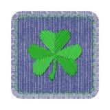 Grov bomullstvilllapp med treklövern Royaltyfri Foto