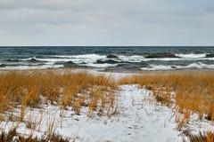Grov sjö och snö täckt vintershoreline Royaltyfri Fotografi