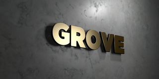 Grove - Gold sign mounted on glossy marble wall  - 3D rendered royalty free stock illustration Royalty Free Stock Photos