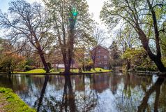 The Grove Mill in Watford. The Grove Mill and the old Mill House in Cassiobury Park, in Watford, Hertfordshire, England on a sunny April`s morning stock photos