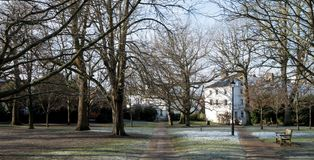 The Grove, park in Royal Tunbridge Wells. Photographed on an icy winter's day with frost on the ground. The Grove, historic park in Royal Tunbridge Wells stock image