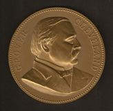 Grover Cleveland Inaugural Medal. Original and official inaugural medal produced by the U.S. Mint to commemorate the inauguration of President Grover Cleveland Stock Images