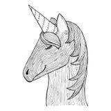 Groviglio di zen e unicorno di scarabocchio Animale di Zentangle Cavallo di magia di Zendoodle Libro da colorare di vettore royalty illustrazione gratis