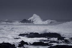 Grovt hav på den portugisiska kusten arkivbilder